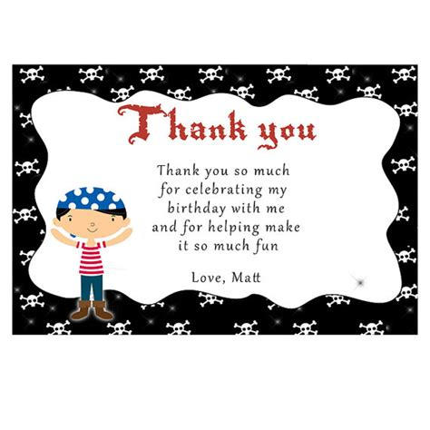 Thank You Letter For Third Printable Personalized Pirate Thank You Card Notes 1st 2nd
