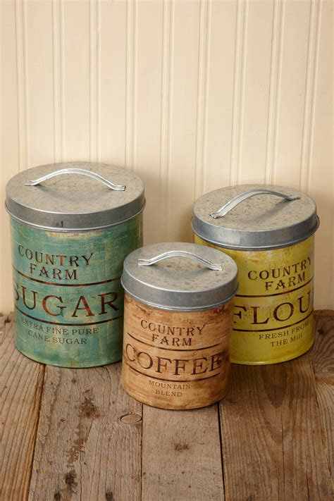 rustic kitchen canisters vintage galvanized canister set of 3