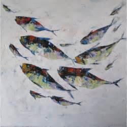 banc de poissons fond blanc tableau deco contemporain