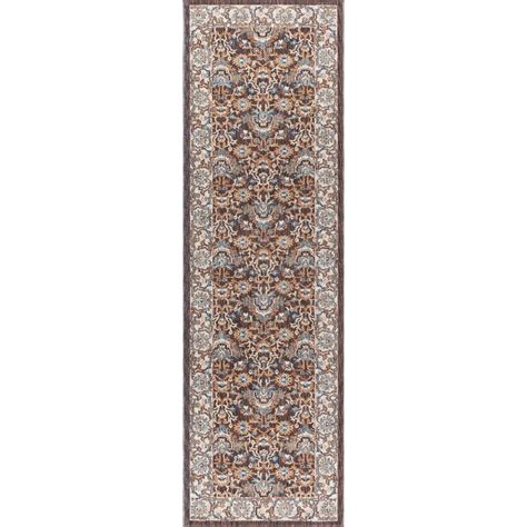 tayse rugs fairview brown 2 ft 3 in x 11 ft runner