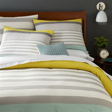 Colour Block Stripe Duvet Cover Pillowcases Sea Mist Modern Bedding Sets Uk