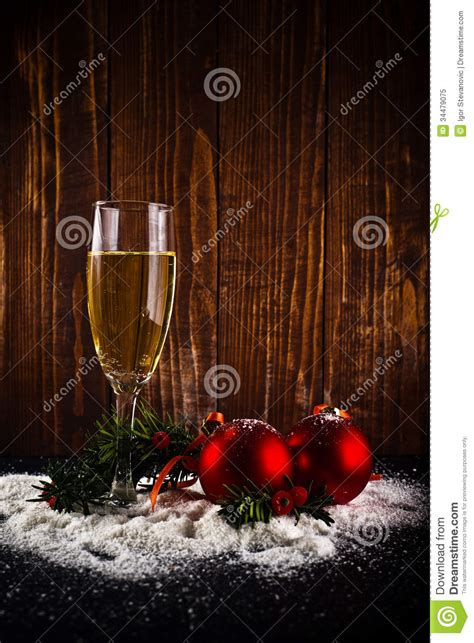 happy  year white wine  christmas balls stock image image  years decorative