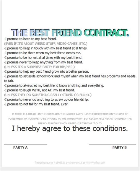 the best friend contract my best friend