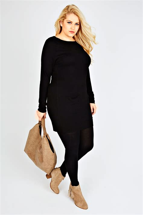 Cassava Tunic Www202clothescom black knitted tunic dress with pocket detail