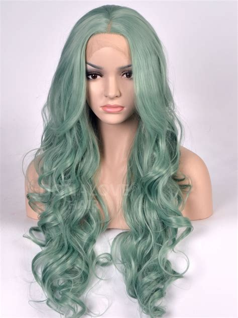 Wig Lace Front light green wavy synthetic lace front wig sny082 synthetic wigs donalovehair