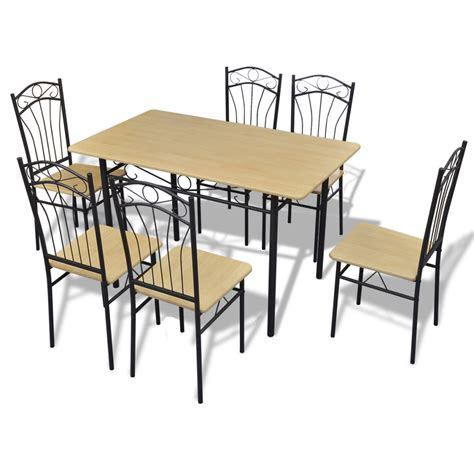 brown dining table set vidaxl co uk dining set light brown 1 table with 6 chairs