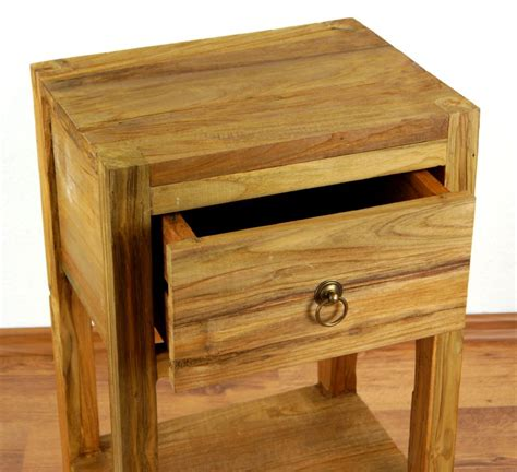 nachtschrank hoch reclaimed teak wood bedside table rustic look drawer