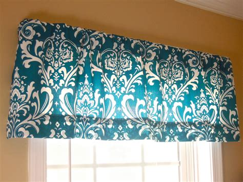 Teal Valance 50x15 Window Valance Damask Modern Contemporary By Thefarley4