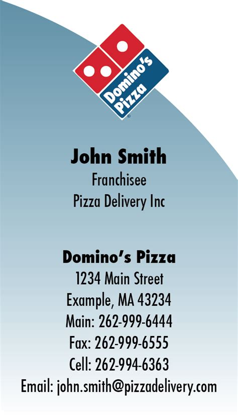 pizza business card template domino s pizza business card template by steffanegrace on
