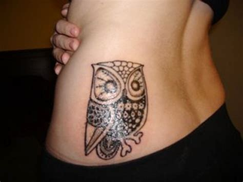 hip owl tattoo designs for girls lower back tattoos for