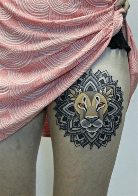 tattoo mandala animal the lion totem in this meaningful tattoo design has a