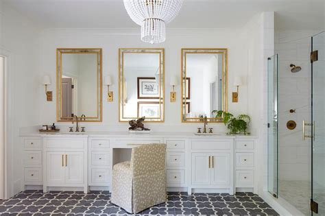 White Gold Bathroom by White And Gold Master Bathroom With Gray Cement Tiles