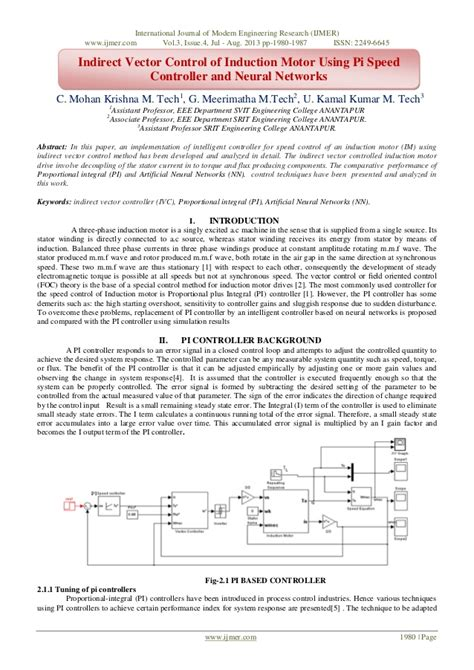 tutorial on vector control of induction motor indirect vector control of induction motor using pi speed