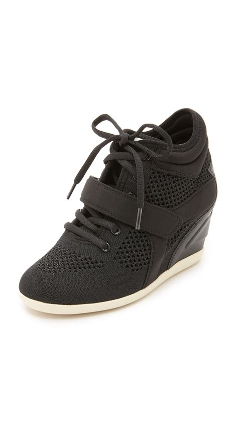 wedge sneakers black ash bebop wedge sneakers in black lyst
