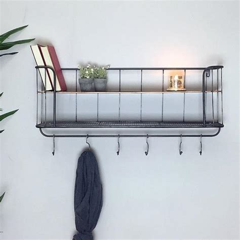 Small Shelf With Hooks by Industrial Wall Shelf With Hooks Small Vintage Wire