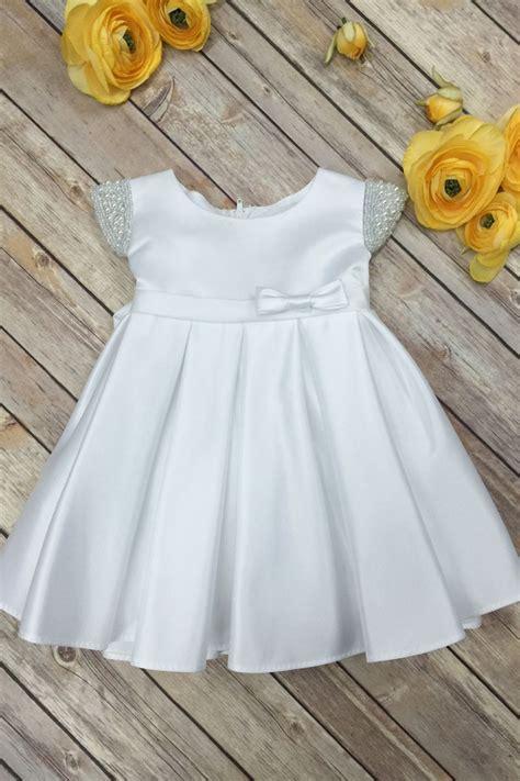 Dress White Babyborn beaded shoulder satin flower dress
