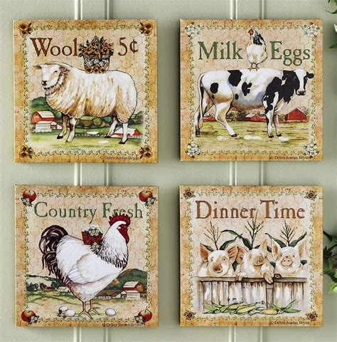 animal home decor prints for kitchen walls set of 4 farm animal canvas