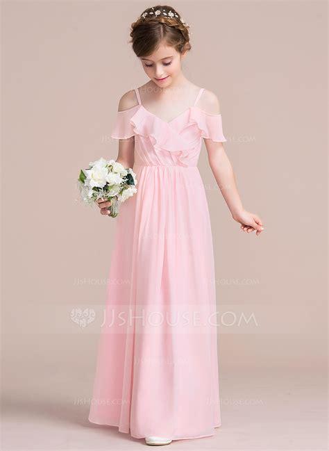 Junior Bridesmaid Dress by A Line Princess V Neck Floor Length Chiffon Junior