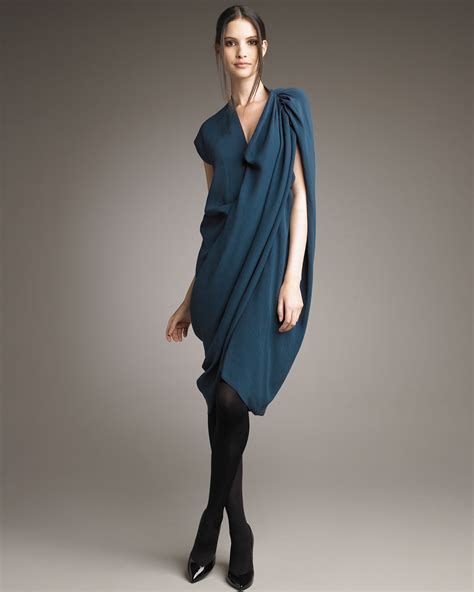 asymmetric drape dress lanvin asymmetric draped dress in blue lyst