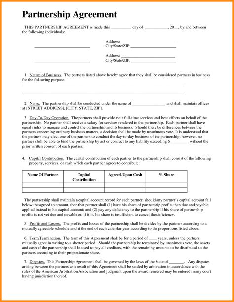business partnership agreement template 12 contract sle doc reporter resume