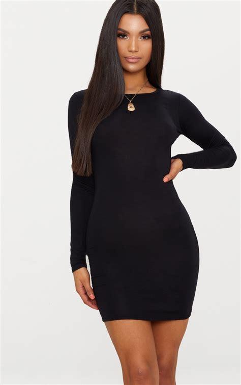 basic black jersey long sleeve bodycon dress