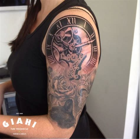 rose and clock blackwork tattoo by roony best tattoo