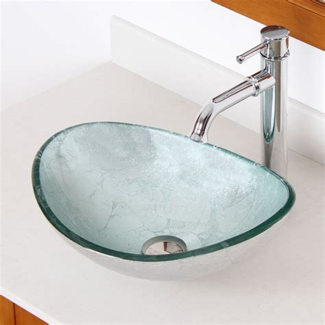 ELITE 1412 F371067 Unique Oval Artistic Silver Tempered Glass Bathroom Vessel Si   Contemporary