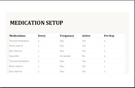 Medication Intake Schedule Template for Excel   Excel