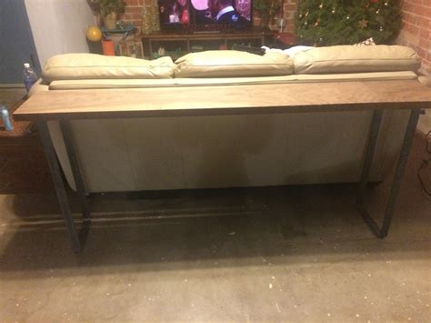 sofa table with custom metal bench legs