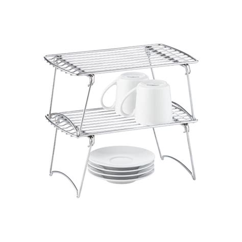 small chrome stacking shelf the container store