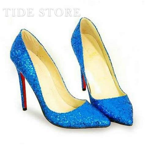 Prewalker Heels Sparkling Blue bright blue sparkling glitter stiletto heel closed toes wedding bridal shoes blue shoes with a