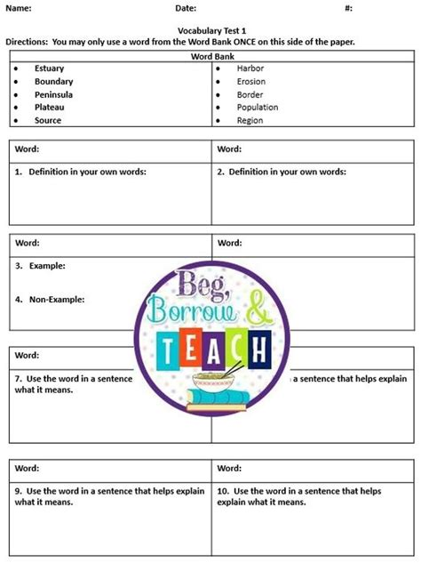 beg borrow and teach vocabulary test template