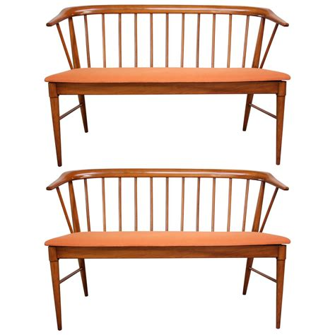 spindle back bench mid century modern spindle back bench for sale at 1stdibs