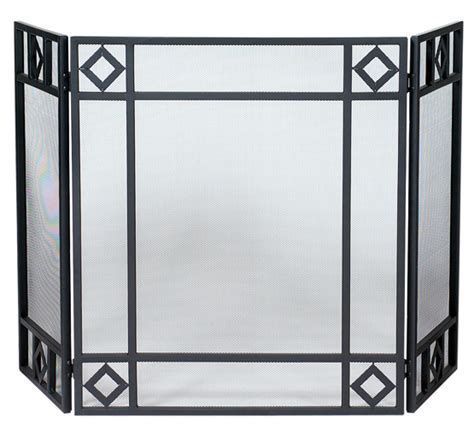 52 3 fold black wrought iron fireplace screen with