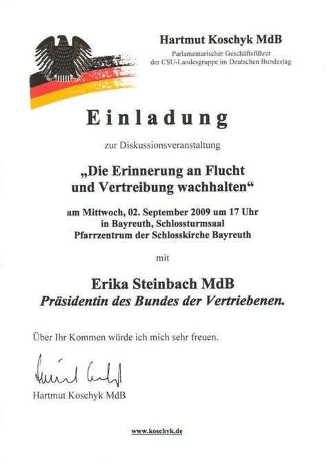 Muster Einladung Zu Einer Veranstaltung Diskussionsveranstaltung Mit Erika Steinbach Mdb Koschyk Mittendrin