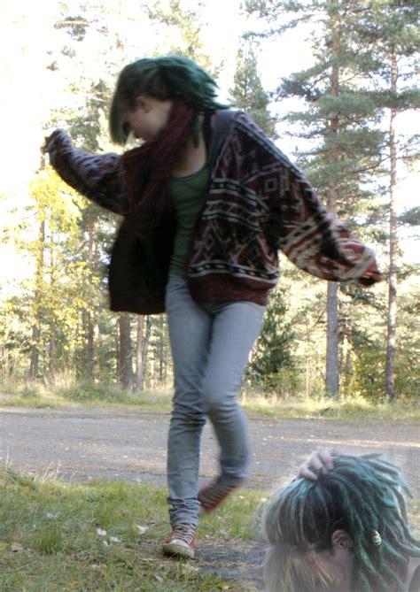 mari l converse striped vintage cardi green hair lookbook