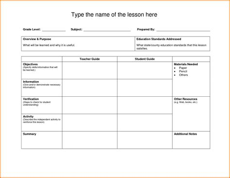lesson plan template doc great printable calendars