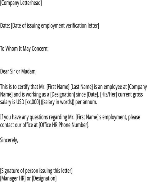 Employment Verification Letter Us Embassy employment verification letter for us visa for