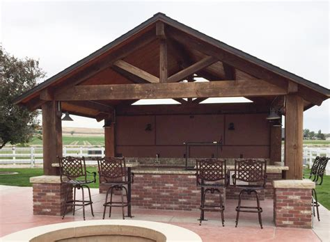 outdoor pavillon timber frame outdoor kitchen pavilion na idaho