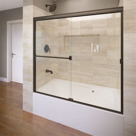 bathtub frameless doors shop basco 60 in w x 57 in h oil rubbed bronze frameless
