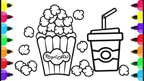 popcorn theater set coloring pages how to draw rainbow