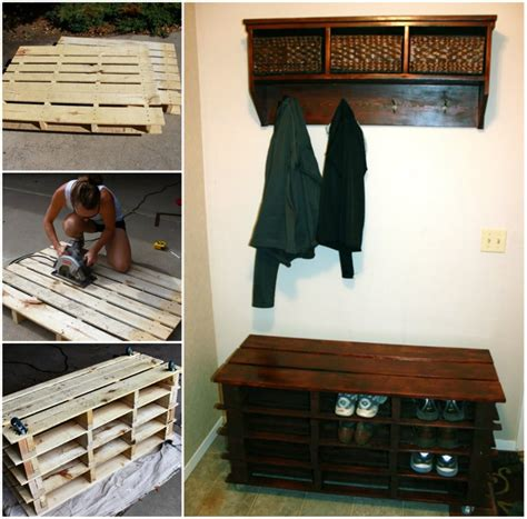 awesome shoe storage bench   pallets