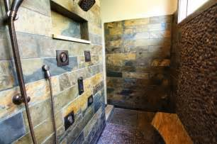 Slate tiled shower rustic bathroom cleveland by architectural