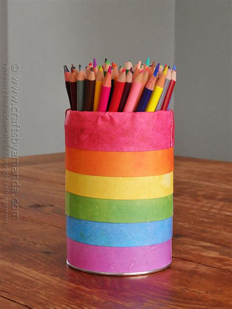 Cool Pen Holders rainbow pencil holder can crafts by amanda