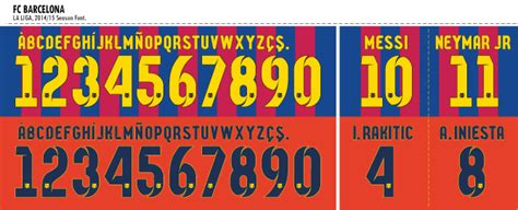 barcelona number football teams shirt and kits fan font fc barcelona 2014