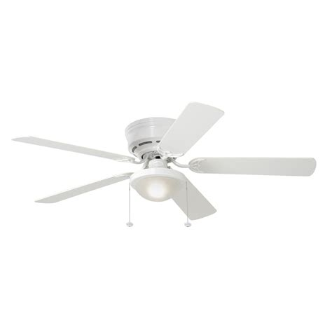 Shop Harbor Breeze Armitage 52 In White Flush Mount Indoor Flush Mount Ceiling Fans With Light
