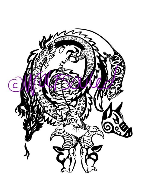 tattoo family in chinese chinese horoscope family tribal tattoo by wolfsouled on