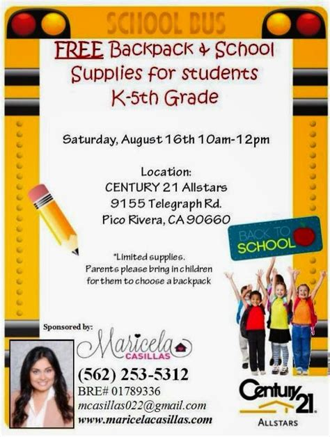 Free School Supplies Giveaway - montebello mom free backpack school supply giveaway pico rivera