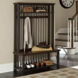 home styles cabin creek hall tree seat furniture foot stool living decor coats trees and shelves
