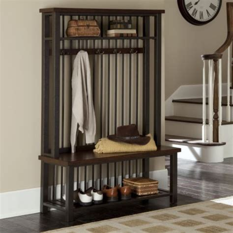 entryway bench coat rack home styles cabin creek hall tree seat furniture foot
